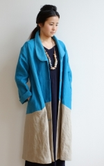 CUBY LINEN -coat- スカイブルー×ライトグレー