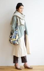 CUBY LINEN -coat- ブルーグレー×アイボリー