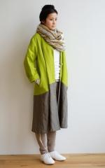 CUBY LINEN -coat- 黄緑×カーキ